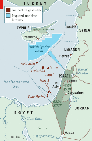Israeli, Cypriot, Turkish and Palestinian offshore exploration areas and oil/gas discoveries in the Eastern Mediterranean.