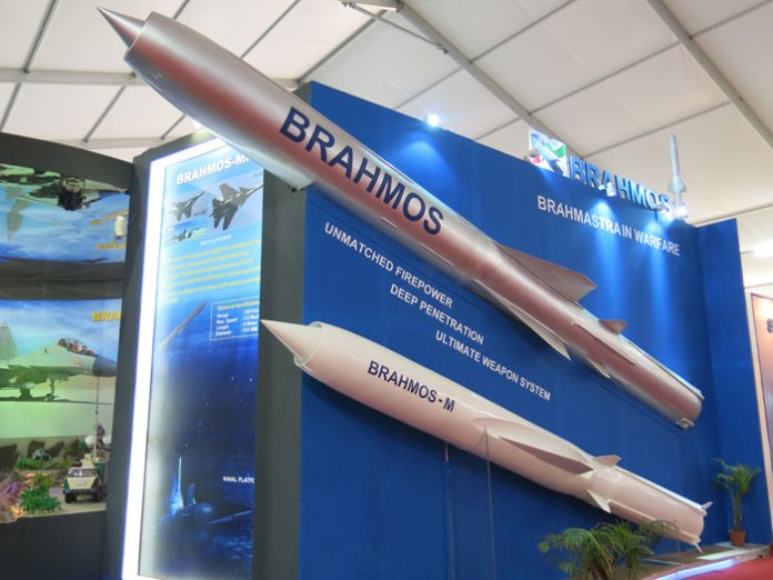 A model of Brahmos M was displayed at Defexpo 14. As the next generation of the current Brahmos, the missile will have reduced dimmensions, lower weight and higher speed, compared to the current BrahMos. It will be three meter shorter, with a diameter 190mm smaller, compared to the Brahmos. Optimized for airborne and tube-launched submarine applications, Brahmos M will have a range of 300 km (290 for Brahmos) and its speed will be increased to 3.5 Mach (2.8 max in Brahmos). The missile will have stealth features to reduce radar signature and will also have improved electronic counter-countermeasures.