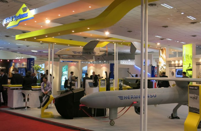 The scope of Elbit Systems' involvement in defense programs in India has not been published but this market is considered to be a of a substantial part of the company's turnover. At Defexpo Elbit Systems displayed the unmanned aerial systems it would like to introduce in the market, while artillery systems and electro-optical systems for tanks and armored vehicles were displayed by Elbit Systems customers and business partners in India. Photo: Tamir Eshel, Defense-Update