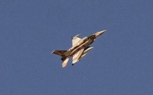 Israeli F-16 swoops low over Limasol. Photo: Sotiranews