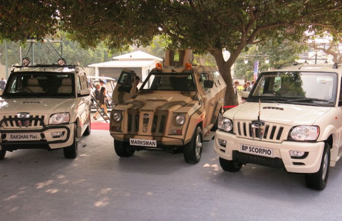 A group photo of Mahindra's armored vehicles - from left to right: Rakshak Plus, Marksman and BP Scorpio.