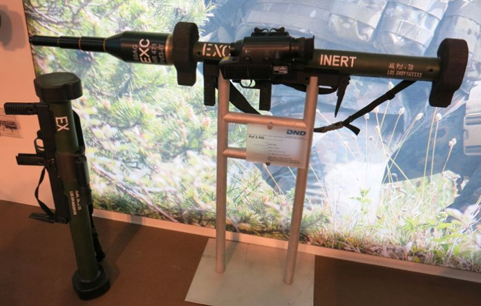 The German company DND displayed the new Panzerfaust 3-NG with its Daynahawk electro-optical sight, enabling the weapon an effective range of 600 meters. The weapon uses the standard RGW60 launcher with an oversized, tandem warhead designed to defeat all current armor types.
