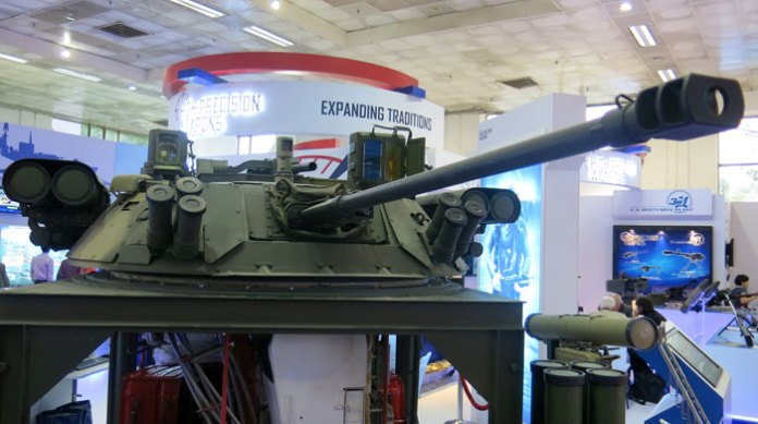 A full scale model of the Berezhok turret developed by KBP Tula for the BMP II upgrade is displayed at Defexpo. Although the system is based on the existing turret, KBP claims it surpasses the existing capability nearly four times, adding full day/night capability, integration of Kornet guided missiles and improved fire controls.
