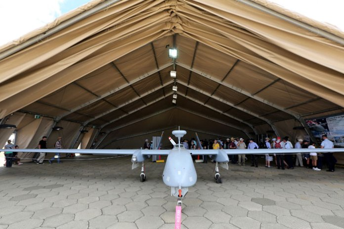 On 1-2 March the RAAF hosted the Centenary of Military Aviation Air Show at RAAF Williams - Point Cook. Among the popular attractions at the show was the Heron Remotely Piloted Aircraft (RPA), displayed in a deployable hangar. Photo: Australian Defence by Aaron Curran