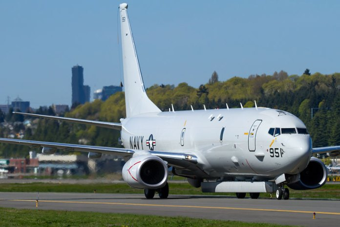Boeing and Raytheon companies are testing the Littoral Surveillance Radar System (APS-149 LSRS) on the Boeing P-8A. The Poseidon will carry the Advanced Airborne Sensor, an enhanced version of the APS-149. Photo: Russell Hill