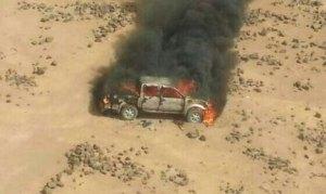 A burning pickup truck struck by Jordanian fighter jets north of Mafraq, April 16, 2014. Jordanian MOD Photo
