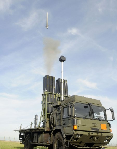 A CAMM missile tested Soft Vertical Launch from vehicle