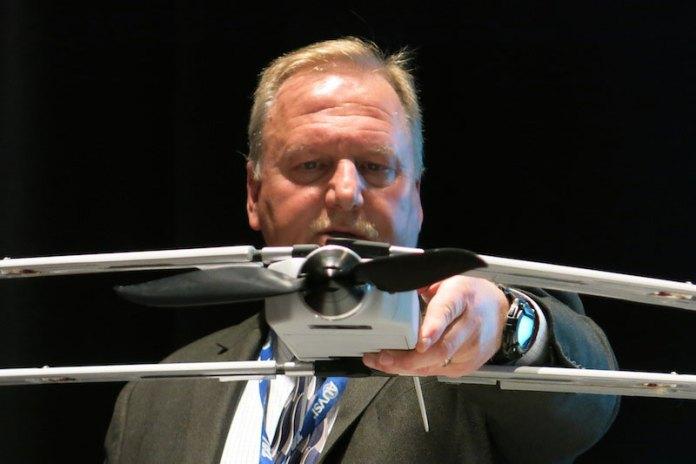 Steve Fortson shows the new Vector Hawk from Lockheed Martin. Photo: Tamir Eshel, Defense-Update