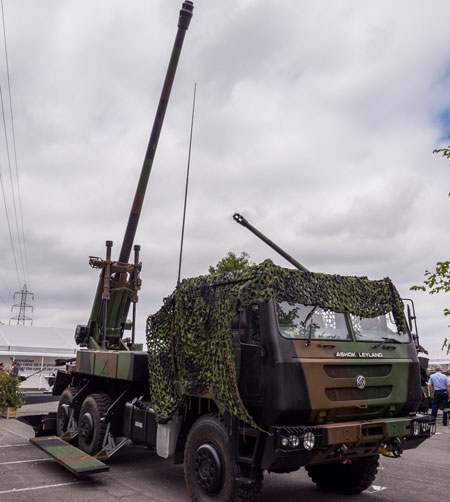 Nexter's CAESAR self propelled gun displayed at the company's exhibit at Eurosatory 2014 last week in Paris. The 155mm 52 CAL  howitzer mounted on an Indian Ashok Leyland truck is proposed to the Indian Army Mobile Gun System (MGS) program by an industry team headed by Larsen & Turbo
