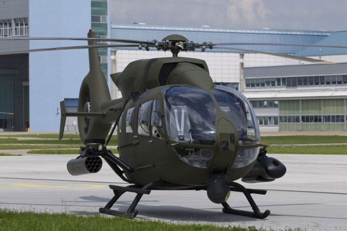 A mockup of the EC645 T2 milirtary / special mission helicopter. Photo: Airbus Helicopters