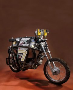 """""""Ghostrider"""" is a robot motorcycle that drives itself, with no human intervention once it is underway. The motorcycle was the only two-wheeled entrant in the autonomous vehicle races of 2004 and 2005 sponsored by Defense Advanced Research Projects Agency (DARPA). Photo: Smithsonian Museum"""