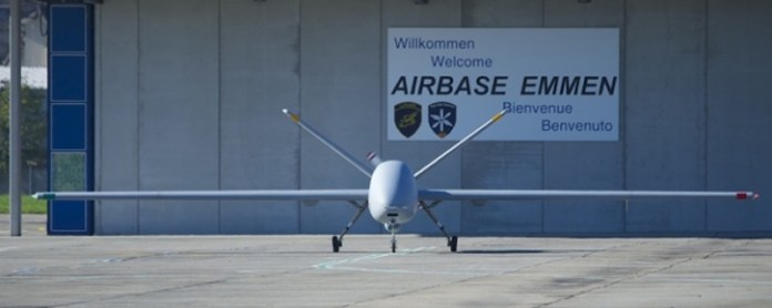In 2012 the Hermes 900 drone deployed to Emmen, participated in a 'flyoff' against the Heron I, as part of the Swiss Air Force evaluation of the two systems.