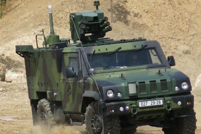 Other vehicle demonstrated here is the LMV from Iveco, configured to carry out CBRN reconnaissance missions. Photo: Tamir Eshel