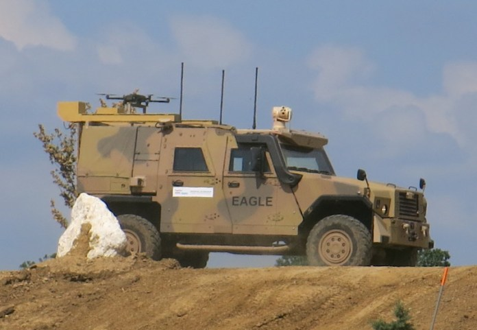 The VERA robotic kit installed on an EAGLE IV armored vehicle from GD ELS. Photo: Tamir Eshel