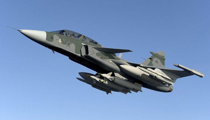 A twin-seater Gripen seen here in Brazilian air force markings