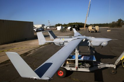 An RQ-21A Blackjack belonging to Marine Unmanned Aerial Vehicle Squadron 2 sits on the flight line of Marine Corps Outlying Field Atlantic, March 21, 2014. The Blackjack is eight feet long with a wing span of 16 feet and can hold payloads up to 25 pounds. U.S. Marine Corps photo by Lance Cpl. Joshua R. Heins