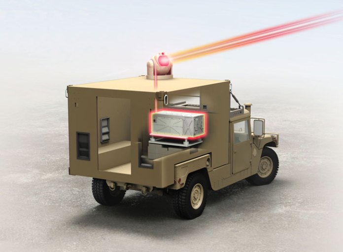 The Ground Based Air Defense (GBAD) Directed Energy On-the-Move Future Naval Capabilities program calls for a field demonstration of a Humvee-mounted short-range laser weapon system with a minimum power output of 25kW. The Raytheon-built laser will be packaged to meet the U.S. Marine Corps' demanding size, weight and power requirements. Illustration: Raytheon