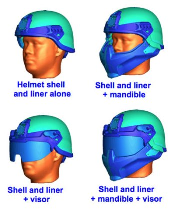 NRL tested four configurations of an Army helmet prototype against computer simulations of blast waves from various directions