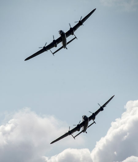 The two Lancasters will visit some 60 air shows and public events across the UK over the next 5 weeks and today's flying was in rehearsal for tomorrow's first public engagement at the Bournemouth Air Show this weekend. Photo: UK MOD Crown Copyright