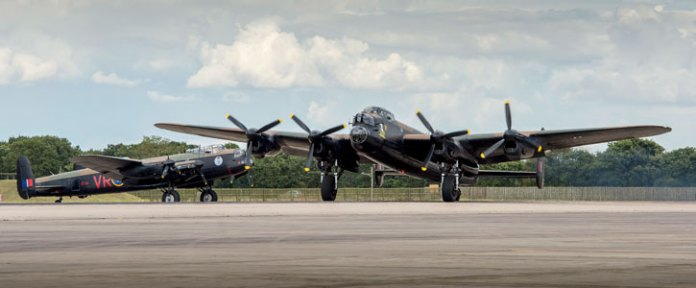 """The Lancaster """"Thumper"""", which is part of the RAF Battle of Britain Memorial Flight has been joined by the Canadian Lancaster """"Vera"""" from the Canadian Warplane Heritage Museum in Ontario. Photo: UK MOD Crown Copyright"""