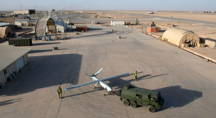The Watchkeeper unmanned aerial vehicle (UAV) towed for checking position prior to takeoff at  Camp Bastion, Helmand, Afghanistan