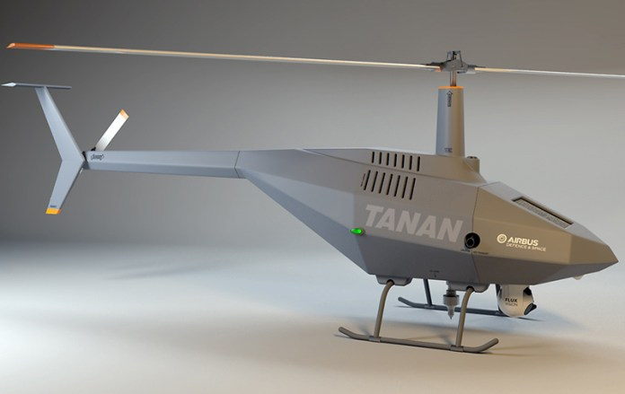 TANAN is a helicopter UAS with a maximum take-off weight of 350 kilogrammes, carrying payloads at a total weight of 50 kg. By integrating UAS onto combat ships, the latter's detection range and ability to accurately identify threats can be increased, while simultaneously ensuring operational availability. Photo: Airbus Defense & Space