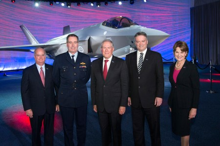 The first Australian F-35 was delivered to the Australian government on July 24, 2014 -  (Left to Right) Orlando Carvalho, Executive Vice President Aeronautics, Lockheed Martin Corporation; Royal Air Marshal Geoff Brown, Chief of RAAF; The Honorable Frank Kendall, U.S. Under Secretary of Defense for Acquisition, Technology & Logistics; Senator, The Honourable Mathias Cormann Minister for Finance and Marillyn Hewson, President and Chief Executive Officer, Lockheed Martin Corporation. Photo: Lockheed Martin
