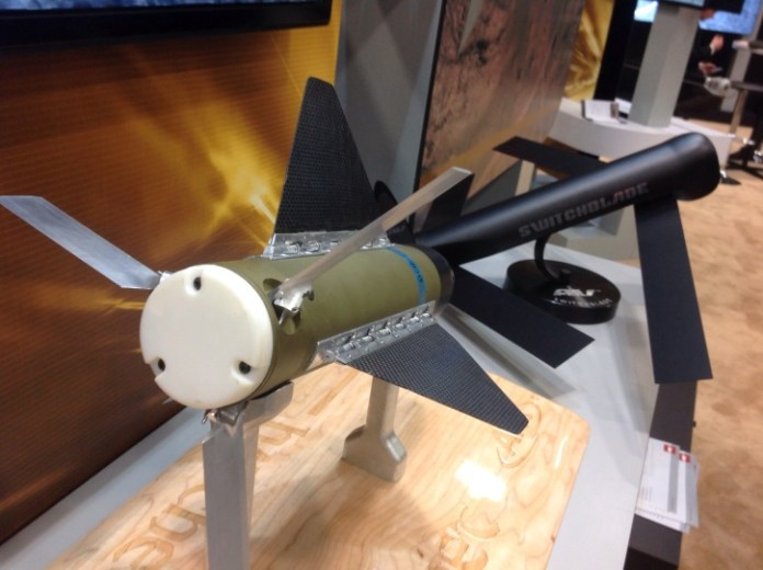 Switchblade and Hatchet, two lightweight precision weapons designed for UAVs - displayed at ATK's booth at AUSA 2014.