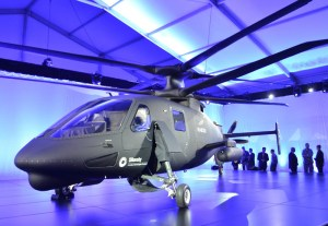 The Raider prototype was displayed armed with a gun pod and a rocket launcher pod. Photo: SIkorsky