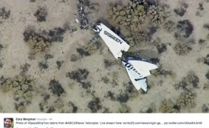 The crash site near Mojave showing debris of the SS2. Photo: via Twitter