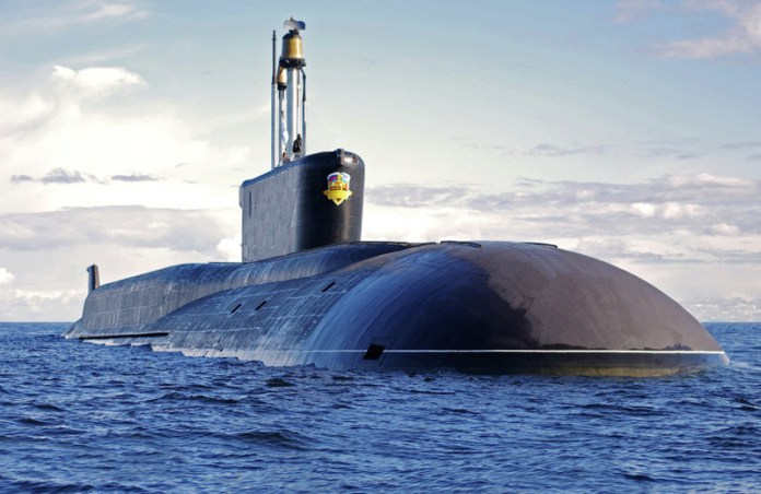The second Borei class submarine Alexander Nevsky, in service with the Russian Navy strategic force.