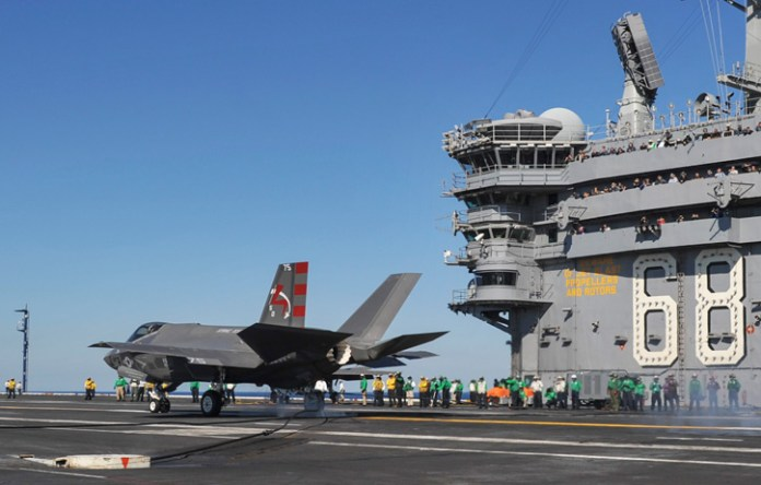 An F-35C Lightening II carrier variant Joint Strike Fighter conducts it's first arrested landing aboard the aircraft carrier USS Nimitz (CVN 68). (U.S. Navy photo by Kelly M. Agee)