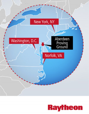 From its position 10,000 ft above Aberdeen Proving Ground in Maryland, JLENS radar will be able to detect targets over distances 340 km away.