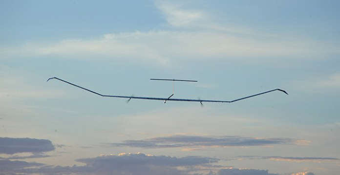 Airbus has tested Zephyr in September 2014, demonstrating the solar-powered drone to perform a complete day and night operational cycle at an altitude over 60,000 ft. Photo: Airbus