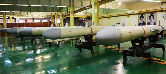 A line of completed Soumar cruise missiles displayed to Defense Minister Brig. General  yesterday at the