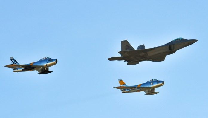 Two F-86 Sabres and an F-22 Raptor fly in formation during the 2015 Heritage Flight Training and Certification Course at Davis-Monthan Air Force Base, Ariz., Feb. 27, 2015. (USAF photo by Chris Massey)