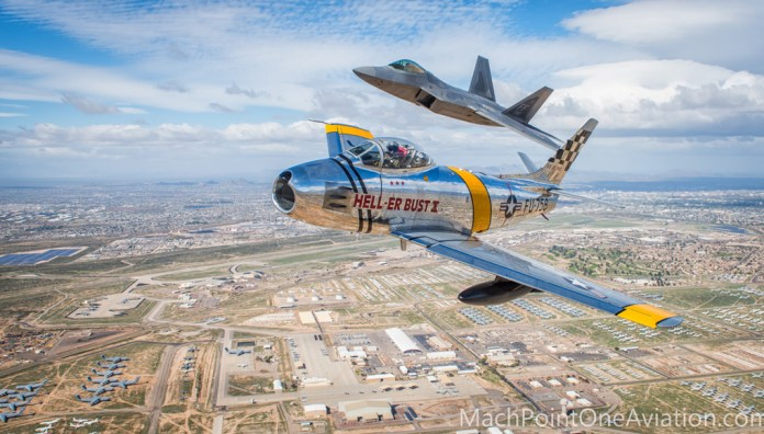 An aerial shot taken by Glenn Watson of Mach Point One Aviation Photography during the Heritage Flight Certification Course over Davis Monthan . Photo: Glenn Watson