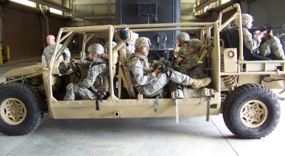 Nine troops from the 8snd Airborne are seated in the Vyper, configured as a troop carrier. Photo: Vyper Adams.