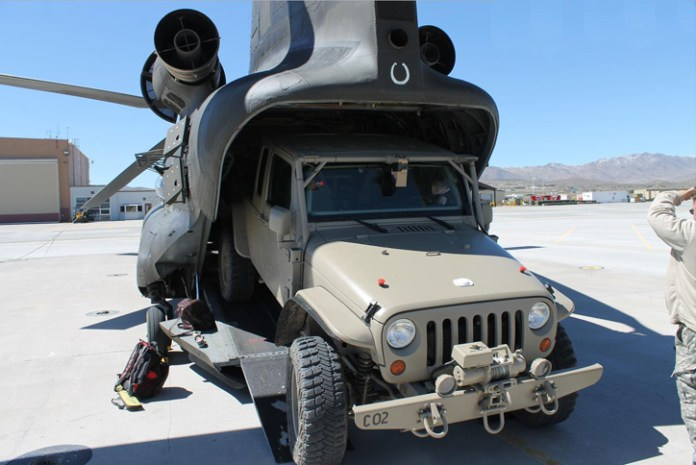 The Commando Jeep is designed to fit into the CH-47 for internal carraige as well as sling loading.