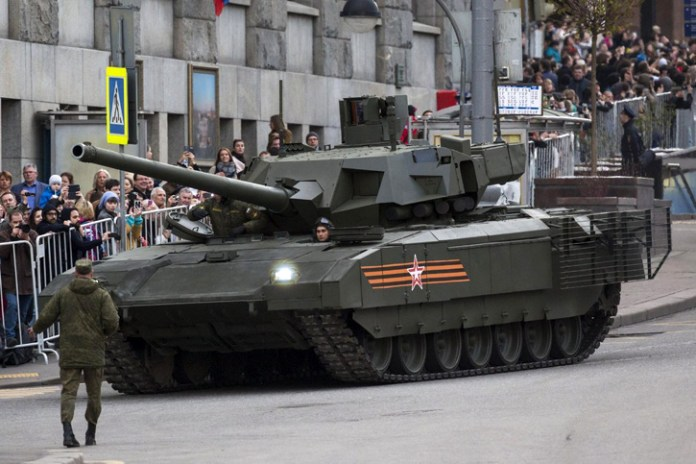 A forward left side view of the T-14 tank based on Armata platform preparing for the May 9th parade in  Moscow.