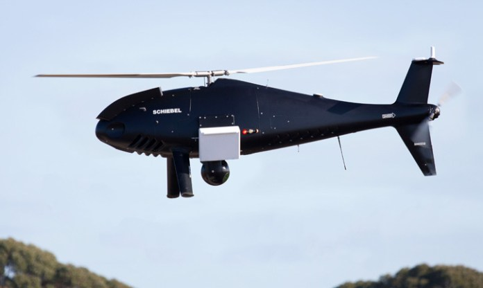 The sensors carried on the Camcopter S-100 included the SAGE Electronic Support Measures (ESM) and PicoSAR radar, both made by Finmeccanica - Selex ES and the Wescam MX-10 from L-3, all were operated simultaneously  on the Australian test. Photo: Schiebel.