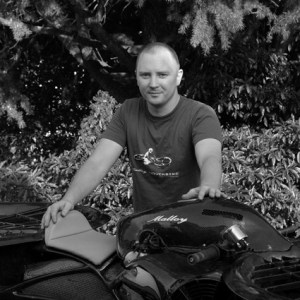 Chris Malloy and his Hoverbike. Photo: Malloy Aeronautics