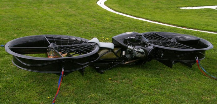 Most of the frame of the original Hoverbike was hand crafted from carbon fibre, kevlar and aluminum with a foam core. Photo: Malloy Aeronautics