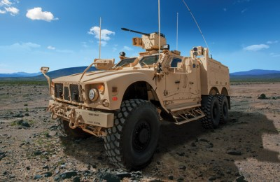 The 6x6 M-ATV is designed to carry a full infantry squad and equipment. Photo: Oshkosh Defense