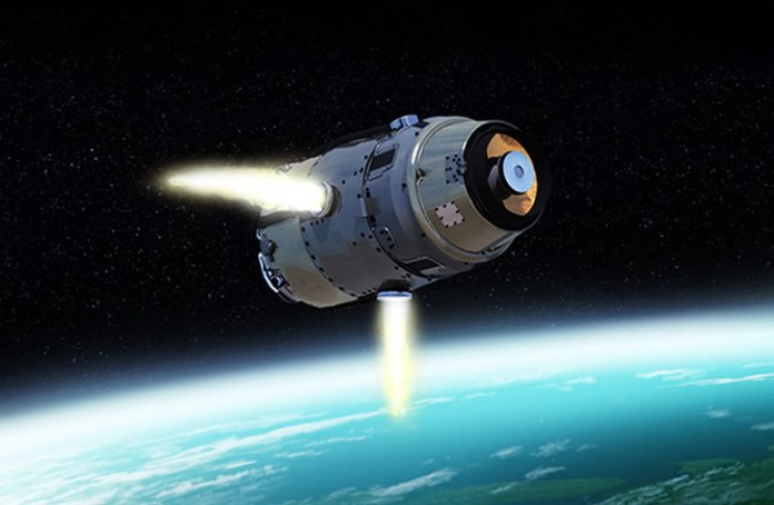 The SM-3's exoatmospheric vehicle collides with its target to obliterate the threat without the need for explosives. The resulting impact is the equivalent to a 10-ton truck traveling at 600 mph. Illustration: Raytheon