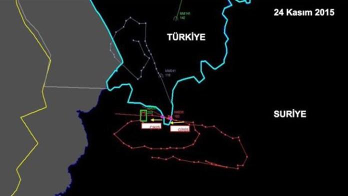 Tracks of the Russian Su-24 over the Turkish-Syrian border, November 24, 2015. Source: Turkish MOD