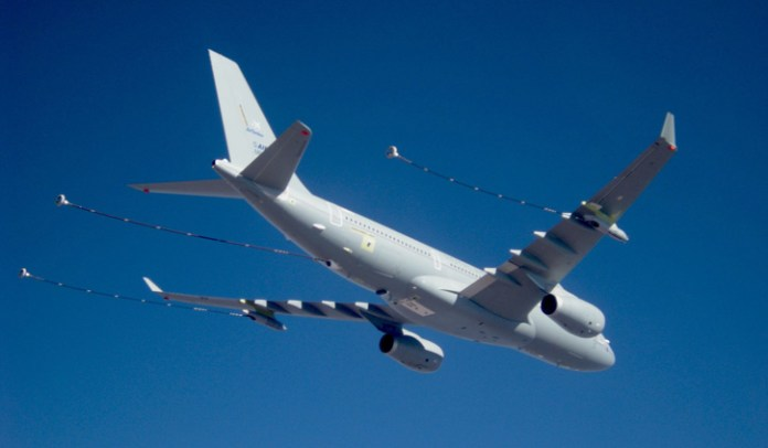 The A330 MRTT is configured with boom and hose drogue refueling systems, supporting all refueling methods. Photo: Airbus