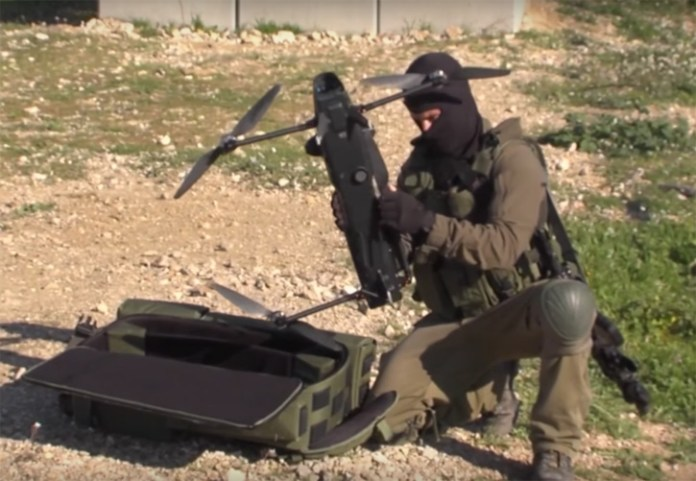 Packed folded in a backpack, ROTEM-L is assembled in seconds and operated by a single soldier. Photo: IAI