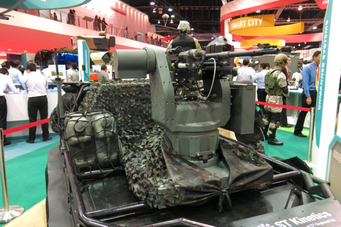An example of the combat support payload is the remotely operated 7.62 weapon station seen on the Jaeger UGV at the Singapore Airshow 2016. Photo: Tamir Eshel, Defense-Update