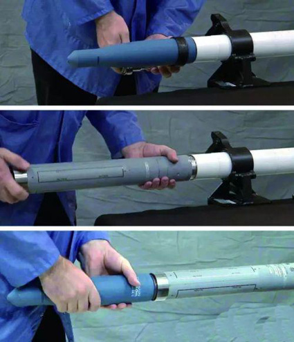 "The upgrading of the standard 2.75"" rocket into APKWS using the plug-in assembly."